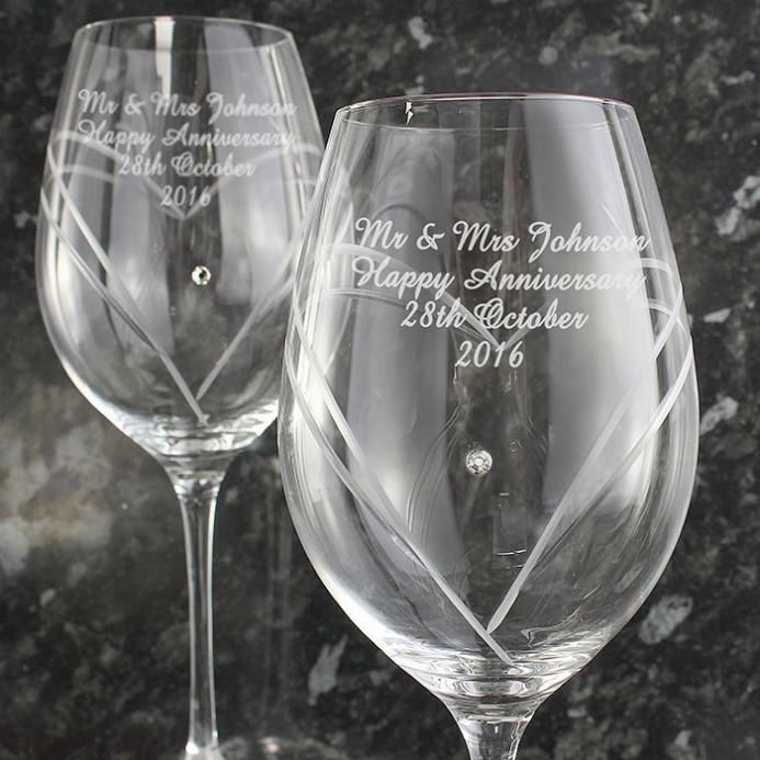 Personalised Diamante Heart Wine Glasses With Swarovski Elements | Personalised Gifts | The Present Season